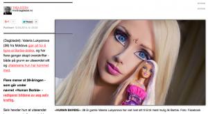 """""""Slik er den ekte barbie"""" - med sirkellinser. Foto: Skjermbilde, Dagbladet.no"""